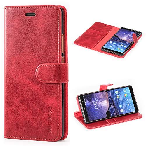 Mulbess Handyhülle für Nokia 7 Plus Hülle, Leder Flip Case Schutzhülle für Nokia 7 Plus Tasche, Wein Rot
