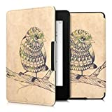 kwmobile Elegante funda de cuero sintético para el > Amazon Kindle Paperwhite (2012/2013/2014/2015) < en Diseño Pájaro azteca negro verde beige