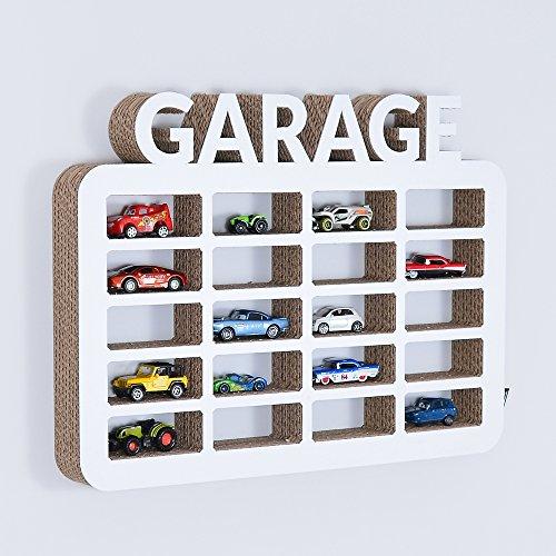 gsmarkt   Wellpappe Hänge Regal Garage für Spielzeugautos Weiß Außenmaße 36x48x5 cm (BxLxH) Öko Deko Kinder Zimmer Dekoration Wand Board 3d Figur Natur Möbel