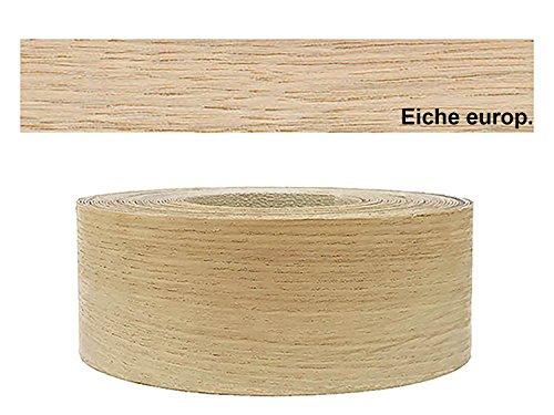 Eiche Furnier (Mprofi (5m Rolle) Echtholz Kantenumleimer Umleimer Furnier Eiche europ. SK mit Schmelzkleber zum Aufbügeln 60mm Breite HR5)