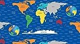 Travel Stoff–0,5Meterware–Reise um die Welt–von blanko Textilien 100% Baumwolle World Map - Blue BLA18