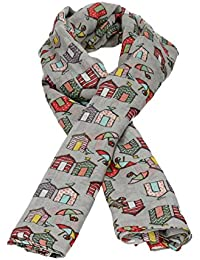 Cornwall Beach Huts Print Womens Viscose Scarf Smart Elegant Ladies Long Scarf in Grey - SWANKYSWANS