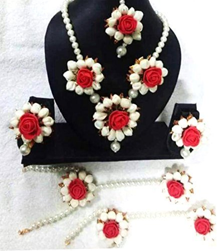 Floret Jewellery Beautiful Red Rose Mogra Flower Jewellery Set With Earrings, Bracelets And Maang Tika For Women & Girls (Mehandi/Haldi/Wedding)