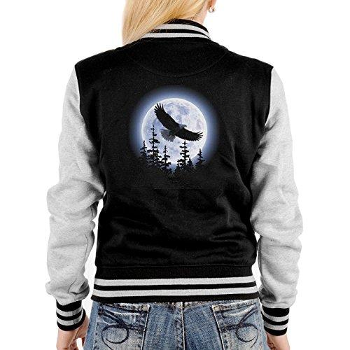 Damen College Jacke schwarz / grau mit Adler Motiv : Adler -- Collegejacke Damen / Mädchen Farbe: schwarz Gr: S