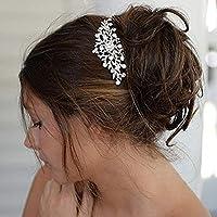 Gaddrt - Horquilla para el Pelo para Mujer, diseño de Flor de Novia con Cristales Brillantes, Color Plateado