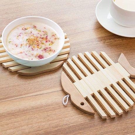 MEICHEN Legno di bambù pesce di cucina ristorante creativo Apple e isolamento mat ciotola rotonda tappetini coaster tappeti , fish