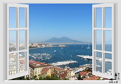 Adesivi murali finestra - vesuvio golfo mare napoli - 70x100 cm wall stickers 3d parete muro