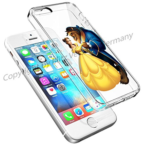 Blitz® DISNEY Schutz Hülle Transparent TPU Cartoon Comic Case iPhone 4/4s Joker/Batman Schöne und das Biest