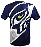 New Era Seattle Seahawks T Shirt/Tee Big Logo Back Navy - L