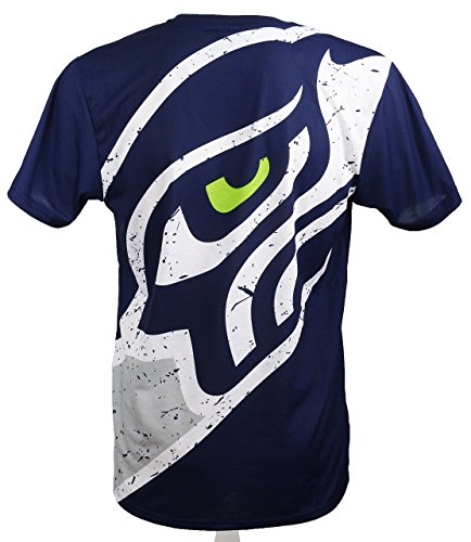 New Era Seattle Seahawks T Shirt/Tee Big Logo Back Navy - XL