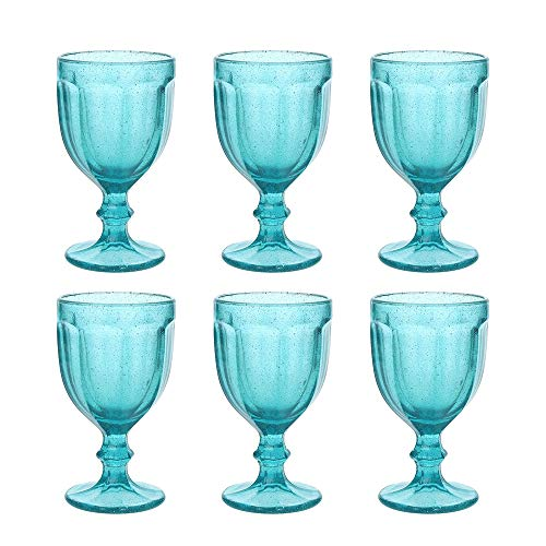 Juego de 6 copas de vino TRINIDAD, turquesa, 360 ml, soplado artesanalmente de Tognana. Los vasos son de estilo rústico, soplados artesanalmente y tienen un volumen de 360 ml. Especialmente aparecido son las pequeñas bolsas de aire en el vidrio, que ...