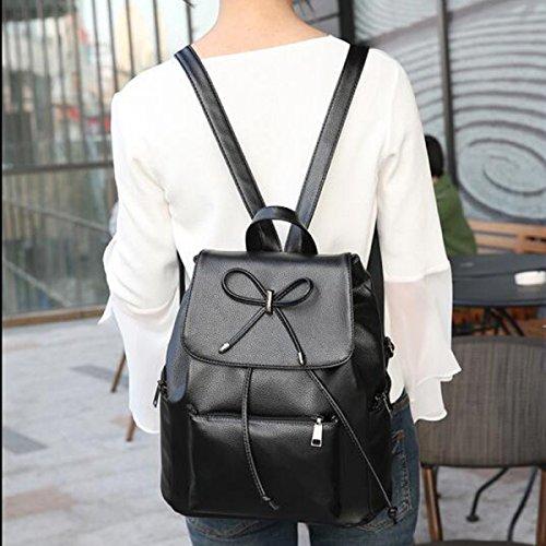 MEI Frau Lässige Umhängetasche Dual-Use-Paket PU-Leder Einfacher Normallack Black