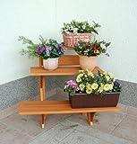 GASPO Blumentreppe 3-stufig, pyramidenförmig   55 x 60 x 56 cm   aus massivem Holz, Blumenständer für Balkon und Garten