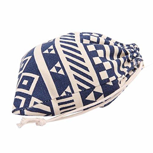 S , Blue : Culater® National Wind Stripes Drawstring Beam Port Storage Bag Travel Bag Gift Bag (S, Blue)