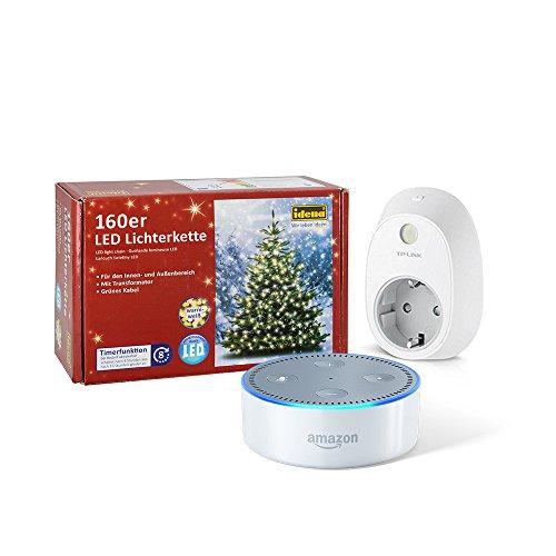 Dein-smarter-Christbaum-Set-bestehend-aus-Amazon-Echo-Dot-2-Generation-Wei-TP-Link-Smart-Steckdose-160er-LED-Lichterkette
