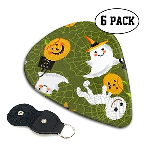 Trick Or Treat Holidays Halloween Celluloid Guitar Picks Premium Picks 6 Pack for Guitar,Mandolin,and Bass 0.46mm, 0.71mm, 0.96mm Optional with PU Leather Pick Holder(0.46mm)