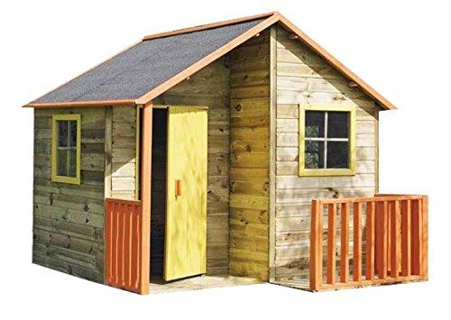 Spielhaus Max - Kinderspielhaus Holz für den Garten, FSC zertifiziert/ TÜV geprüft inkl. Dachpappe