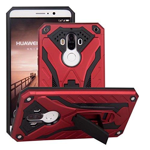 EKINHUI Case Cover Neue stilvolle Hybrid-Rüstung Schutzhülle Case Shockproof Dual Layer PC + TPU Rückseitige Abdeckung mit Kickstand für [Shock Absorbtion] für Huawei Mate 9 ( Color : Silver ) Red