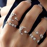 mignolo 5PCS/Set Moda Donne Stella Luna Strass Knuckle Finger Ring Jewelry Gifts Argento Silver Taglia Unica