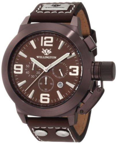 Wellington WN103-995 - Reloj cronógrafo de caballero de cuarzo con correa de piel marrón - sumergible a 50 metros