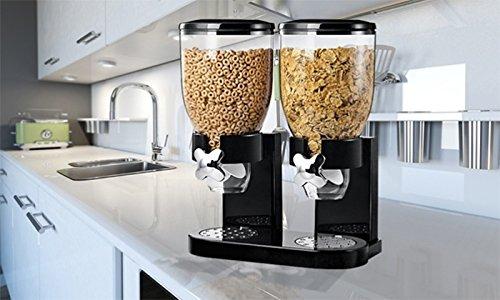 Enyaa Cerealienspender mit integrierter Auffangschale, Einzel-/Doppelspender, luftdichte, durchsichtige Behälter zur Aufbewahrung von trockenen Lebensmitteln, Frühstückscerealien, Haustier-, Katzen- und Hundefutter, Süßigkeiten und Mahlzeiten, schwarz, weiß Double Black