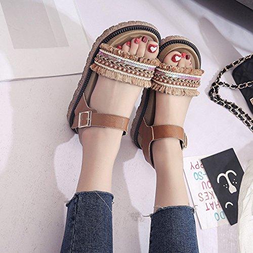 Lgk & fa estate sandali estivi da donna con suola spessa con sandali piatti con muffin Brown