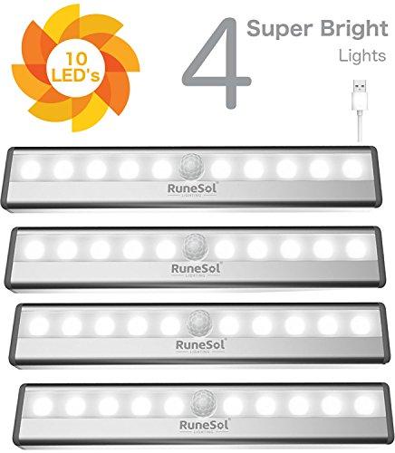 RuneSol® Lampes Détecteur de Mouvement rechargeables / 4 x 10 bandes LED lumineuses/Pack de 4 barres veilleuses super éclairantes/Bande LED sans fil Lumière d'armoire, Escalier, Placard tiroir