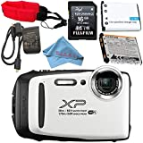 Fujifilm FinePix XP130 Digital Camera (White) #600019827 + Camera Floating Strap Lithium Ion Battery + Microfiber Cloth Bundle