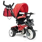 INJUSA - Triciclo City MAX para bebés Desde los 8 Meses, con Control Parental de dirección y Ruedas con Bandas de Goma, Rojo (3271)