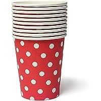 KINGSO - 50 vasos de papel desechables, diseño de lunares, color rojo