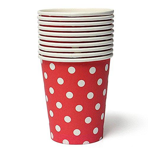 kingso-50-vasos-de-papel-desechables-diseno-de-lunares-color-rojo