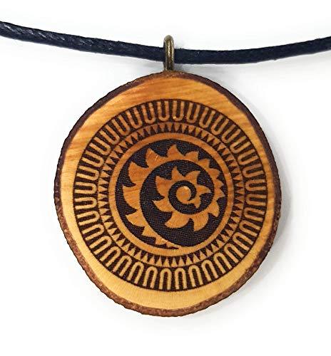 i 9 Holzkette Halskette - Tribal - Hawaii - Neuseeland - Surfer - Surferschmuck - Spirale - Koru - Aloha - Hula - Herren - Männer - Surferketten ()