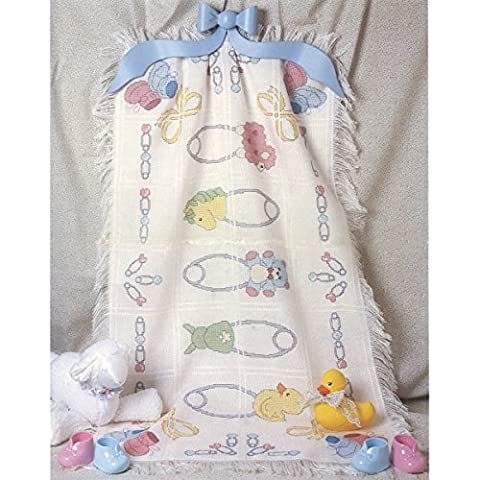 CANDAMAR DESIGNS 29 x 45-inch Baby Afghan Safety Pins Counted Cross Stich Kit