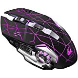 Voberry Gaming Mouse, Rechargeable X8 Wireless Silent Led Backlit USB Optical Ergonomic Gaming Mouse 138x38x80mm Black (Black)