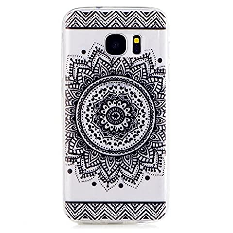 MUTOUREN Samsung Galaxy S7 TPU case cover flexible soft crystal clear Silicone Case Scratch Resistant Beautiful Datura Flowers Drawing-black