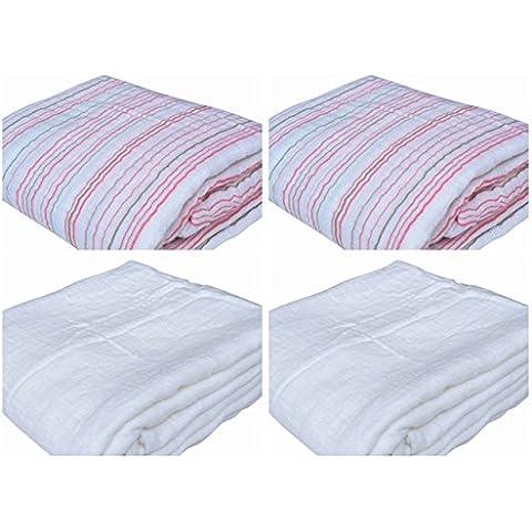 4 Pack | 28 × 28 pollici mussola di cotone doppio bambino caldo Swaddle Coperte e tovagliolo di bagno Washcloth