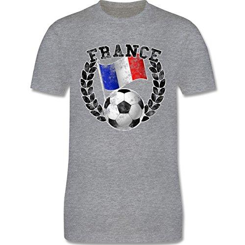 EM 2016 - Frankreich - France Flagge & Fußball Vintage - Herren Premium T-Shirt Grau Meliert