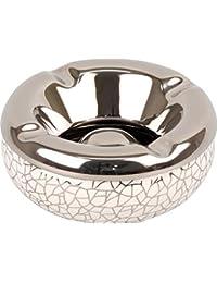 Cenicero para salon–Cenicero redondo de cerámica color blanco/Crackle Negro 12cm altura 5cm