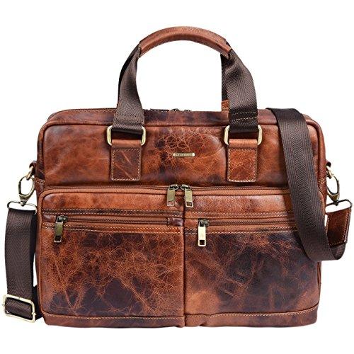 STILORD 'Vito' Vintage Businesstasche Leder Herren Damen 14 Zoll Laptoptasche Umhängetasche Aktentasche Arbeitstasche Rindsleder, Farbe:Prestige - braun