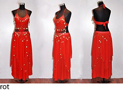Bauchtanz Kostüm, Top und Rock, 2-teilig (rot rot (Bauchtanz Indische Kostüme Traditionelle)