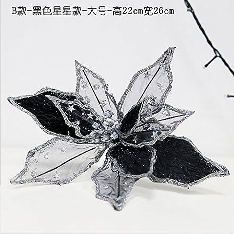 ZHUDJ Weihnachten Rot Silber Gold Rot Weihnachten Blumen Weihnachtsbäume Dekorative Accessoires Wandbehänge B Schwarze Sterne) (Groß)