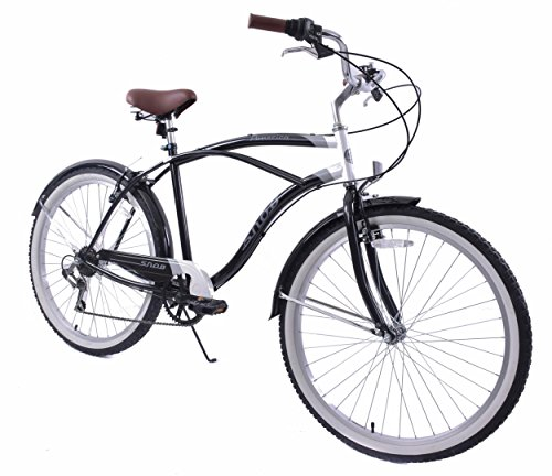 NEW AMMACO SNOB 22″ FRAME BEACH CRUISER BIKE 6 SPEED MENS 26″ WHEEL BLACK