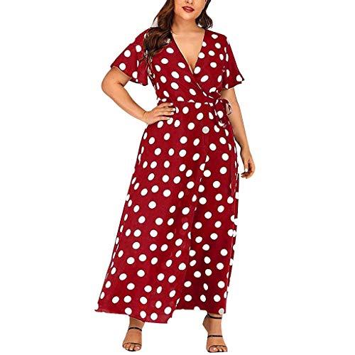 Holywin Damen Punkte Boho Minikleid Lady Beach Sommer Sommerkleid Maxikleid -