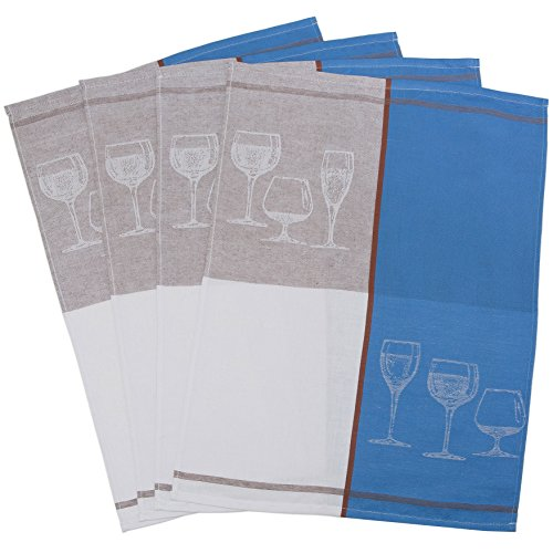 Zollner 4er-Set Geschirrtücher aus Halbleinen, blau (weitere verfügbar), 50x70 cm