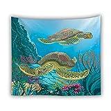 XIAOBAOZIGT Schildkröte-Wandbehang Digitales 3D-Druckmuster Wandkunst Schildkrötethema Der Aquarellart Zwei Wohnkulturwohnzimmerschlafzimmer-Schlafsaaldekoration 150×230Cm
