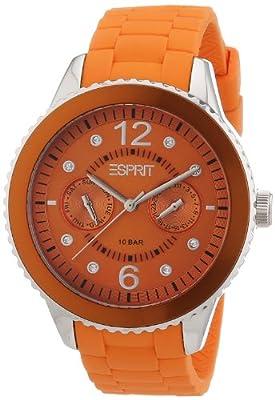 Esprit marin 68 A.ES105332005 - Reloj analógico de cuarzo para mujer, correa de silicona color naranja de Esprit