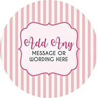 Hen Party Damask Pink V9 Sticker Labels Personalised Seals Ideal for Party Bags, Sweet Cones, Favours, Jars, Presentations Gift Boxes, Bottles, Crafts