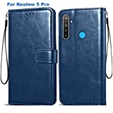 Bracevor Flip Cover for Realme 5 Pro - Executive Blue Leather Finish | Foldable Stand Case | Wallet Card Slots