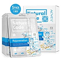 3 In 1 Facial Mask Sheet with Neck Mask, Collagen Essence Hyaluronic Acid Face Mask + Repair Cream for Aging Skin, Wrinkles, Enlarged Pores, Dryness, Lifting and Hydrating, Skin Moisturizing, 5 Pack