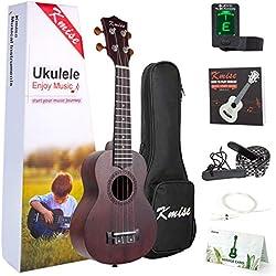 Kmise - Ukelele soprano para principiantes y niños, 53,34 cm, con afinador de bolsa, correa, manual de instrucciones (idioma español no garantizado)